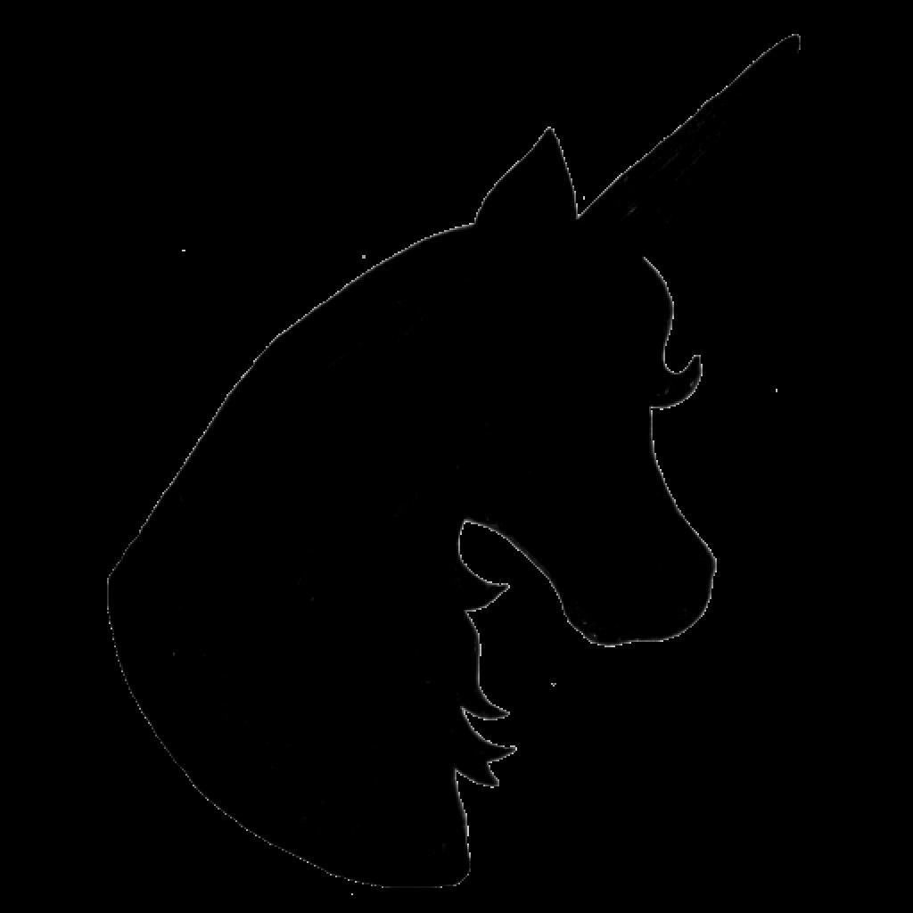 1024x1024 Unicorn Silhouette Head Wave Clipart