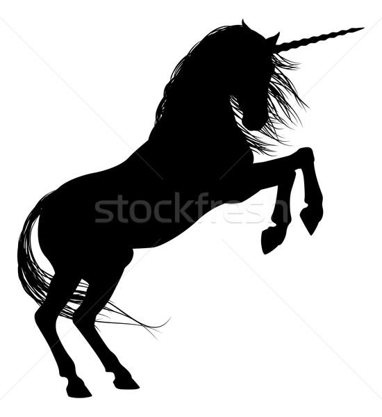 550x600 Rearing Unicorn Silhouette Vector Illustration Christos