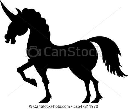 450x383 Silhouette Of Unicorn Vectors Illustration