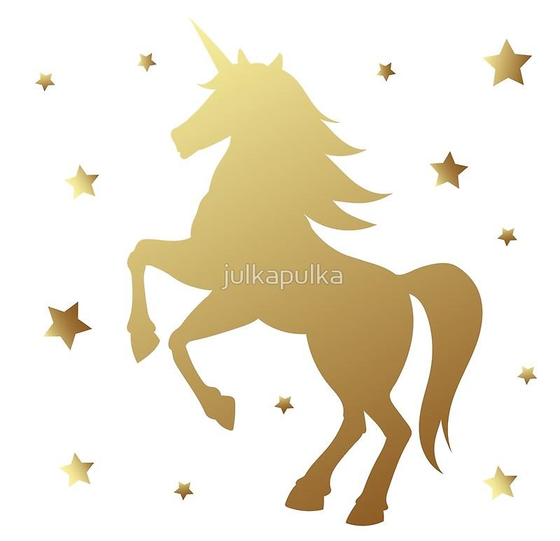 800x774 Unicorn Silhouette Vector Illustration. Golden Magic Unicorn