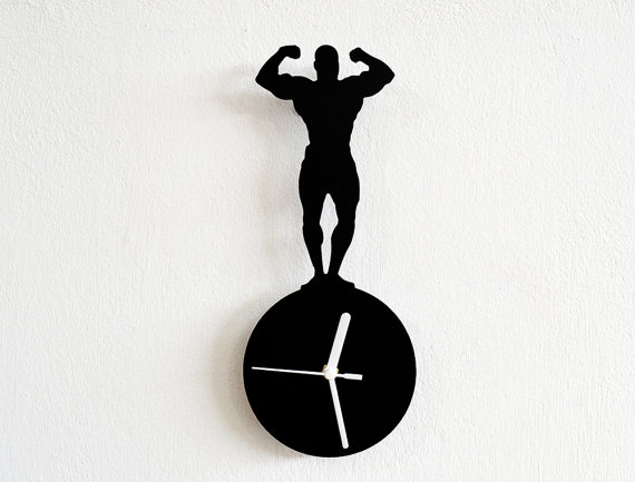 570x433 Mr Universe Front Double Biceps Silhouette Wall Clock