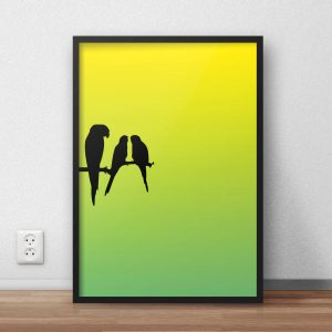 300x300 Bright Parrot Silhouette Wall Art