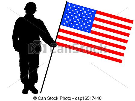 450x337 Flag And Soldier. Vector Drawing Of A Soldier In Uniform Eps