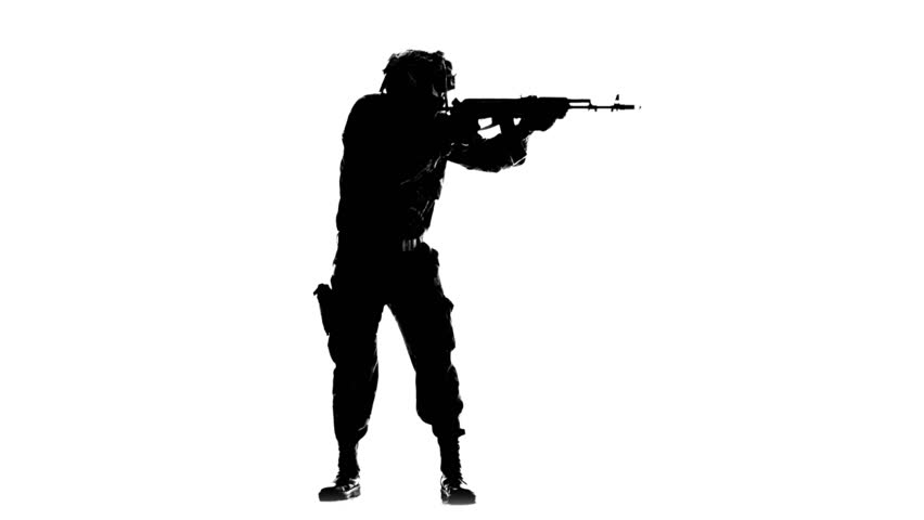 852x480 Soldier Armed. Silhouette Stock Footage Video 20573209 Shutterstock