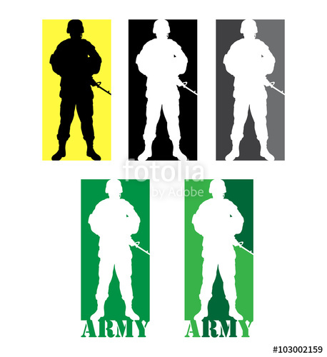 458x500 Soldier Military With Weapon Pose Silhouette Stock Image