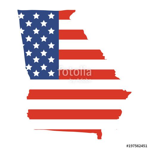 500x500 Vector Illustrationor Icon Georgia Us State Map Shape. American