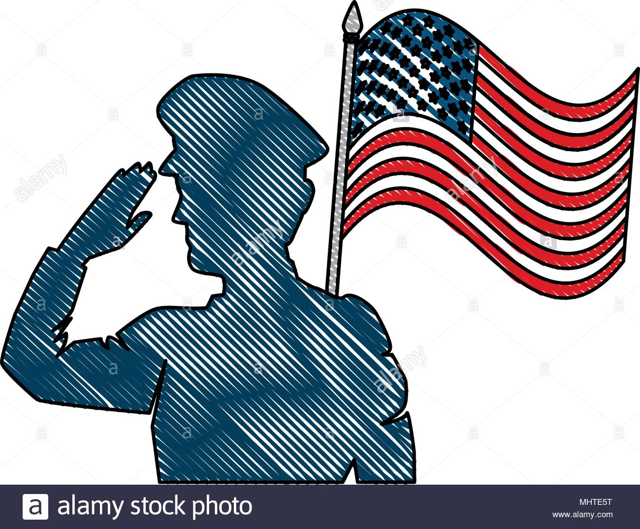 1300x1074 Silhouette Soldier Saluting American Flag Stock Photos