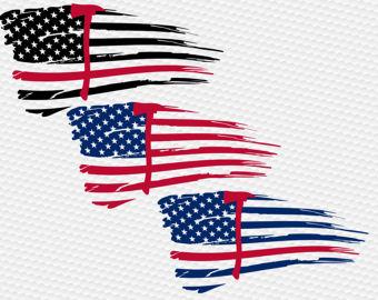 340x270 Thin Blue Line Police Usa Flag Svg Clipart Cut Files