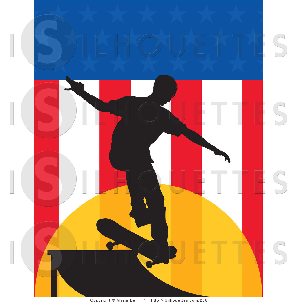 1024x1044 Silhouette Clipart Of A Skateboarder On A Usa Flag Background By