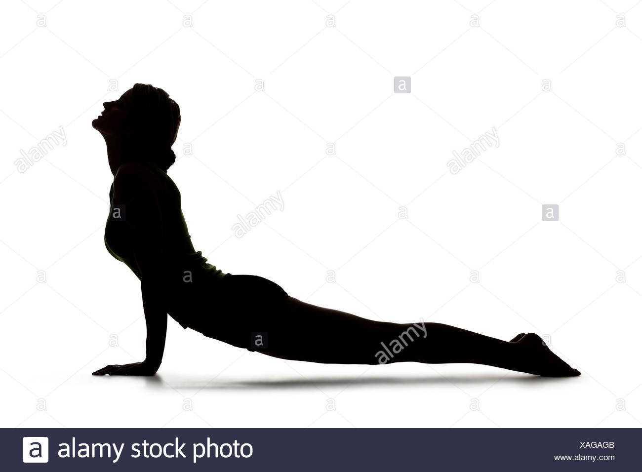 1300x956 Usa, Utah, Orem, Silhouette Of Woman In Cobra Pose Against White