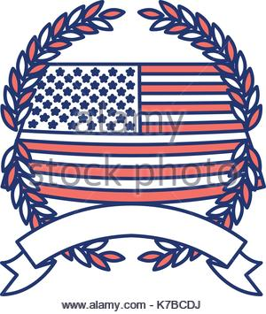 300x355 United States Flag Waving With Olive Crown In Monochrome Dotted