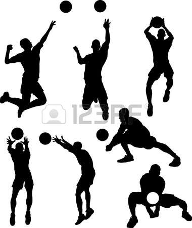 380x450 Volleyball Vector Images Of Male Volleyball Silhouettes Spiking