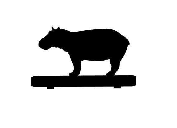 570x414 Hippopotamus Hippo Mailbox Topper Metal Steel Silhouette 7 Inch