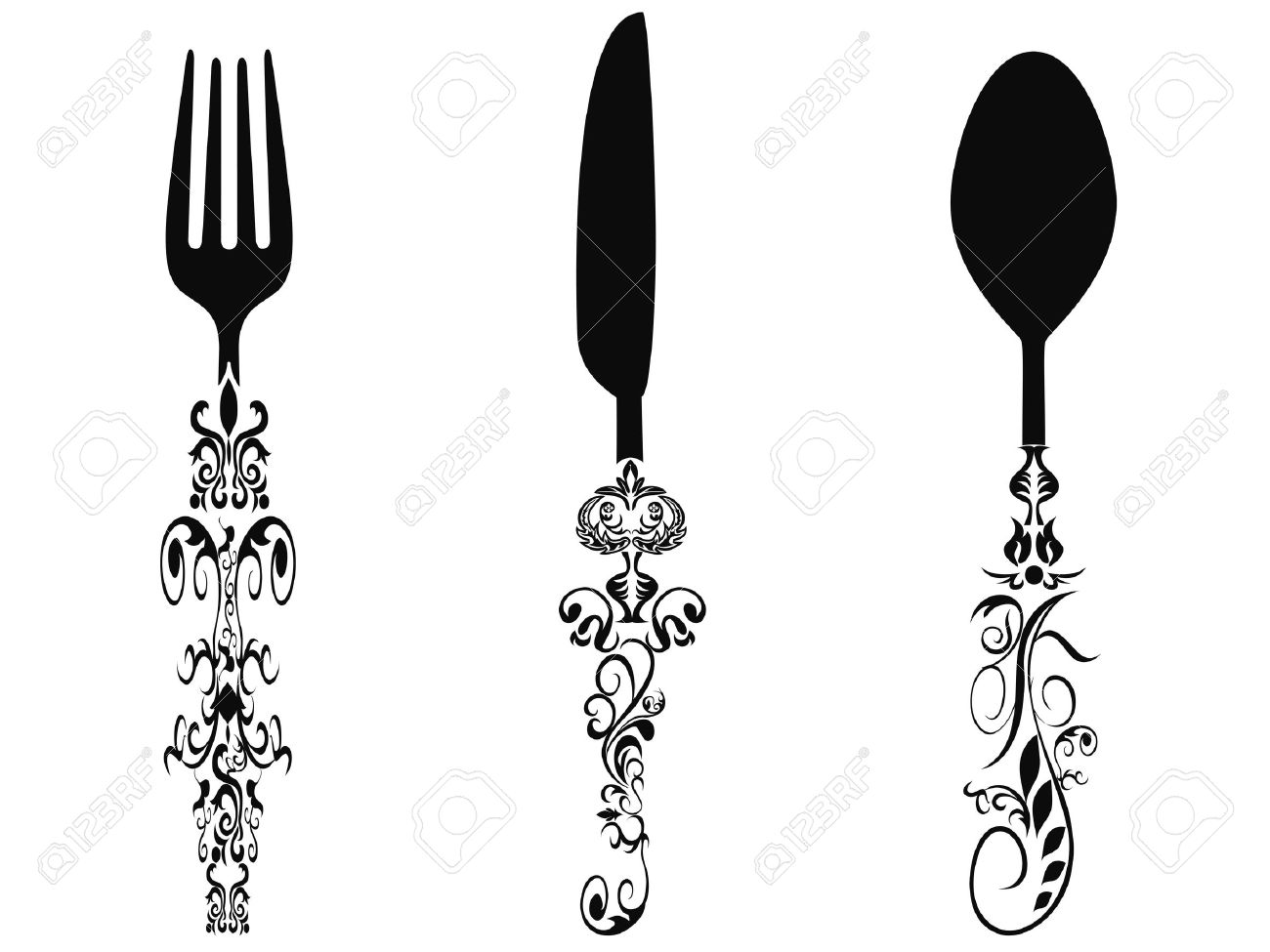 1300x975 Cutlery Clipart Ornate