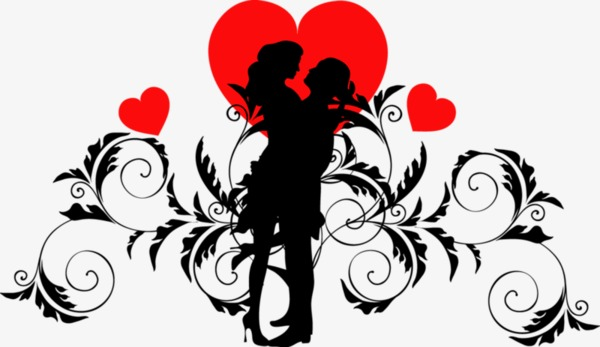 600x347 Valentine Silhouette, Sketch, Valentine's Day, Lovers Png Image