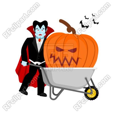 400x400 Halloween Wheelbarrow And Vampire Dracula Royalty Free Vector Clip