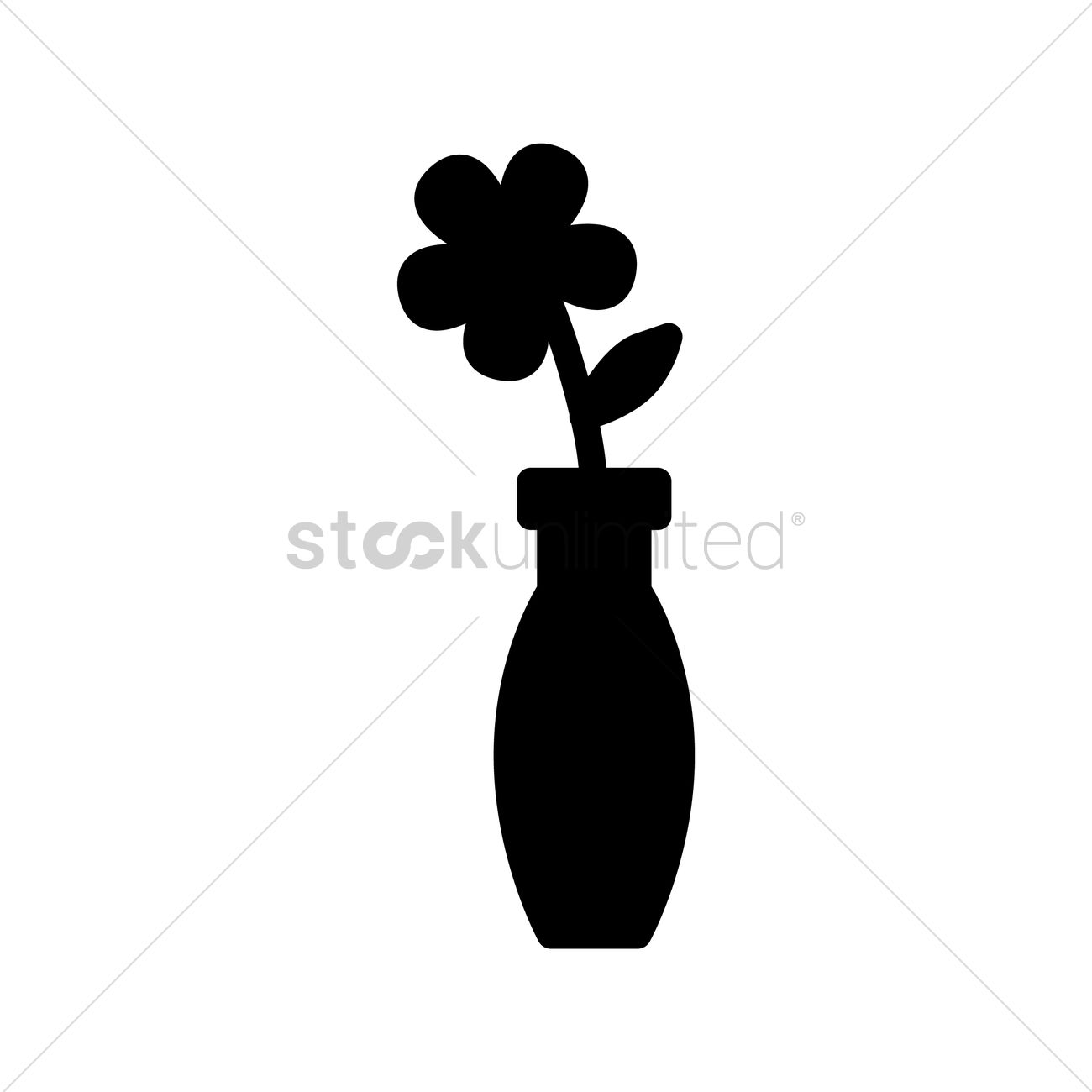 1300x1300 Silhouette Of Vase With Flower Vector Image