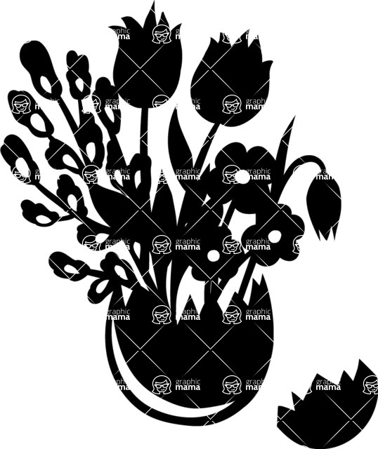 538x640 Flowers In Cracked Egg Vase Vector Silhouette Graphicmama