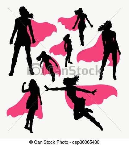 418x470 Female Superhero Silhouettes. Female People With Wing . Vectors