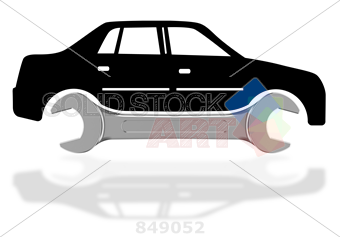 340x237 Stock Photo Of 3d Vector Silver Spanner And Black Car Silhouette