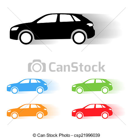 450x470 Vector Car Silhouettes. Set Of Vector Suv Car Moving Drawings