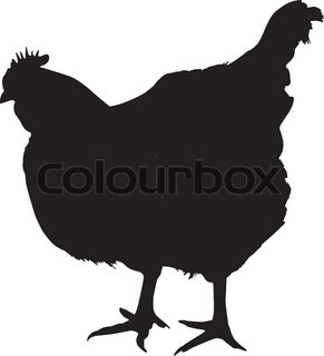 291x320 Vector Illustration Of A Chicken Silhouette. Newborn Chick