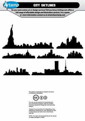 300x425 City Skyline Vector