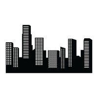 200x200 City Silhouette Vector Image