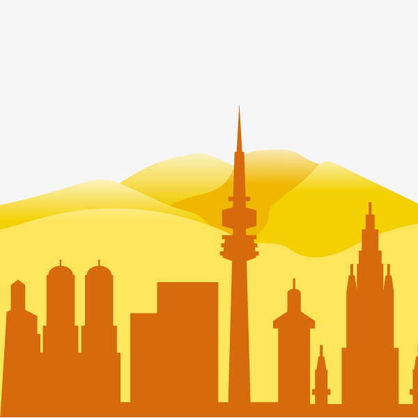 600x600 Vector City Silhouette Mountains, Vector, City Silhouette