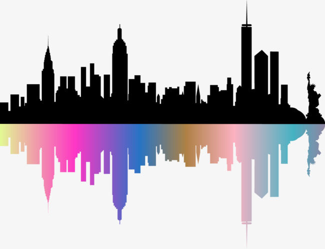 650x497 Vector Hand Colored City Silhouette, Vector, Hand Painted, City