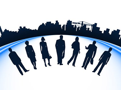 425x318 Business People And City Silhouette Vector Construction Mate