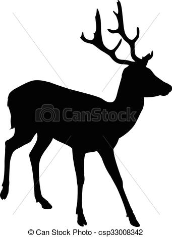 341x470 Elk Deer Silhouette. A Silhouette Of A Young Male Elk Eps Vector