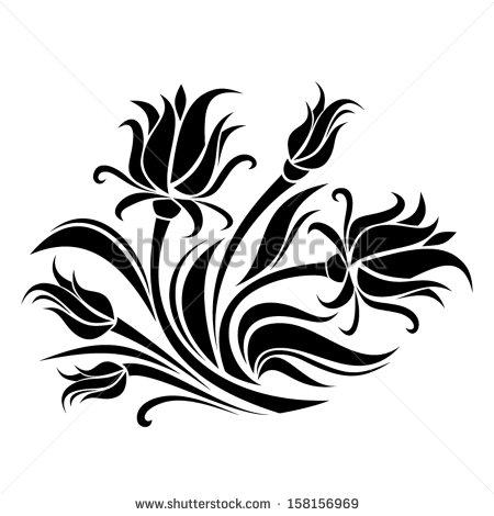 450x470 Black Silhouette Of Flowers. Vector Illustration. Stencil Art