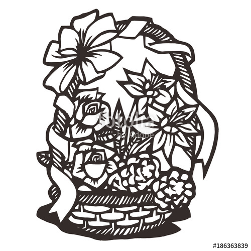 500x500 Flower Silhouette, Vector Illustration Stock Image And Royalty