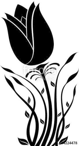 272x500 Vektor Blume Silhouette Stencil Flowers