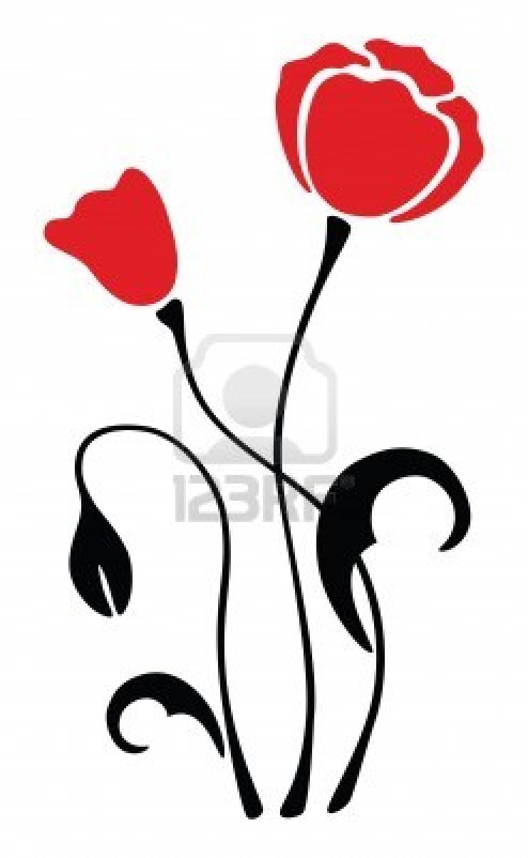 741x1203 5224015 Red Poppy Flower Silhouette Pattern Vector Illustration