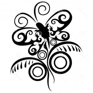 300x300 Black Butterfly Flower Silhouette Isolated Gm Createmepink