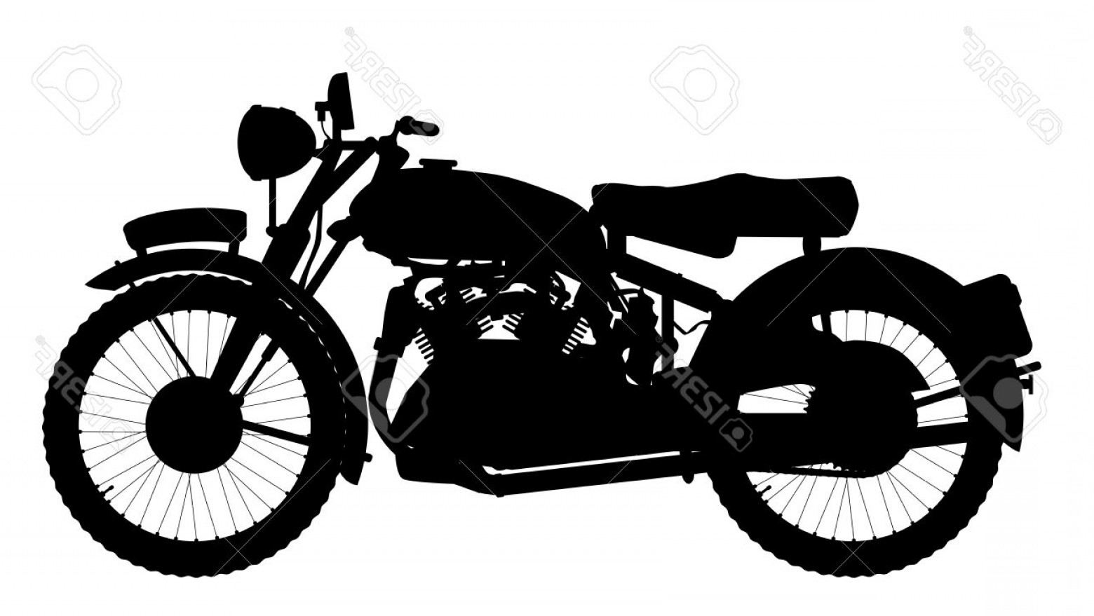1560x879 Photostock Vector Classic Style Motor Cycle Silhouette Over