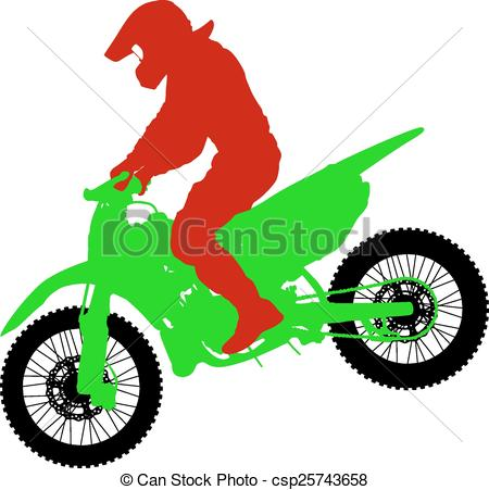 450x451 Black Silhouettes Motocross Rider On A Motorcycle. Vector