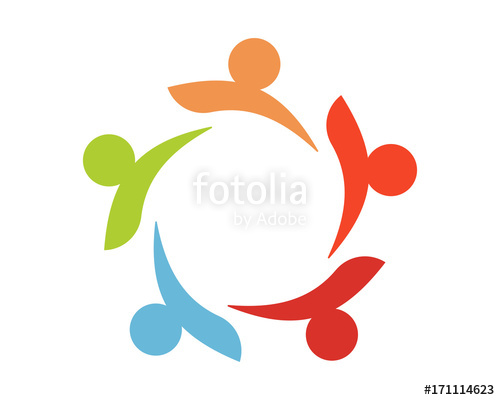 500x400 Unity Person Silhouette Figure Circular Icon Image Vector Stock