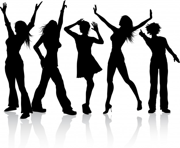 626x514 Silhouettes Of A Group Dancing Vector Free Download