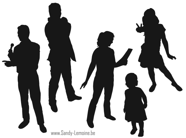600x444 Free Vector Silhouettes Of People Standing, Sitting, Walking