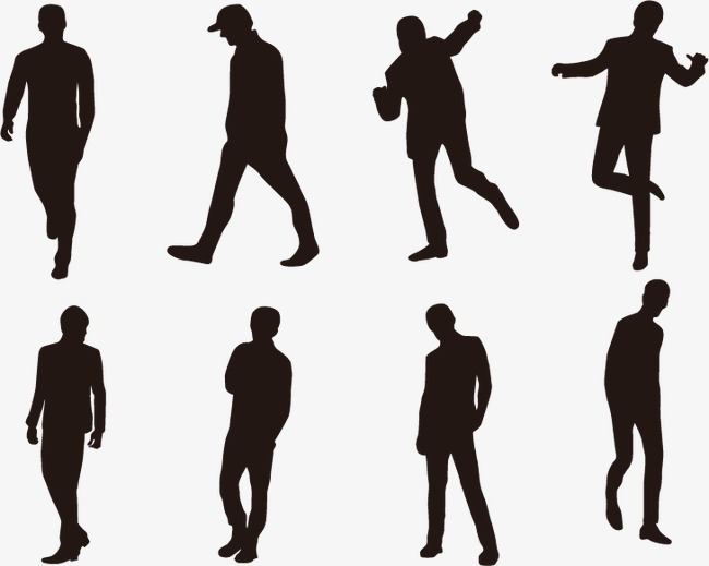 650x519 People Silhouette Vector, Silhouette Figures, Sketch, Silhouette