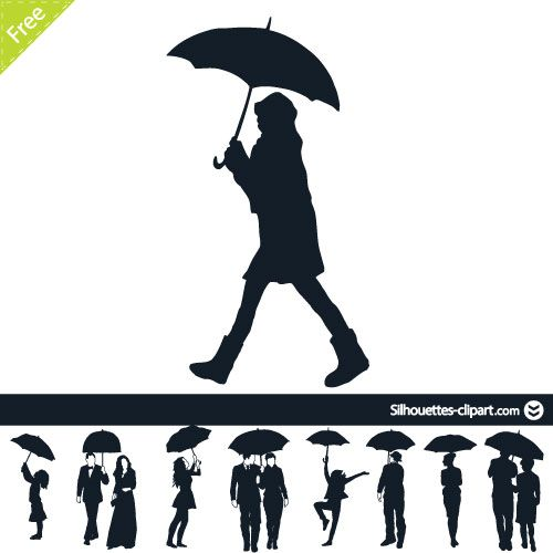 500x500 People Under Umbrella Vector Silhouettes Silhouettes