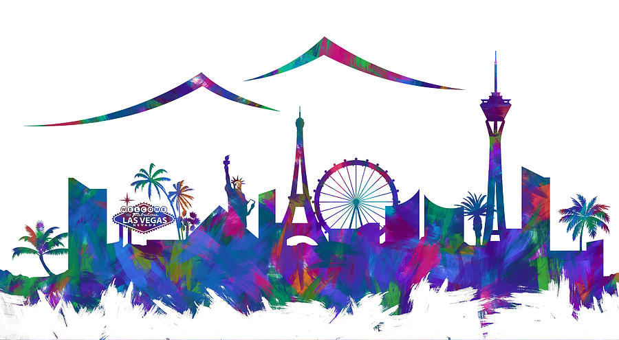 900x495 Las Vegas Skyline Silhouette Iii Digital Art By Ricky Barnard