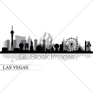 325x325 Las Vegas Nevada City Skyline Silhouette Black Background Gl