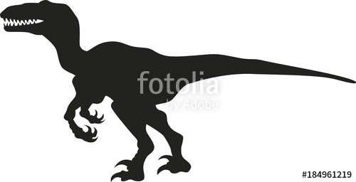 500x256 Vector Silhouette Of A Velociraptor Dinosaur Stock Image