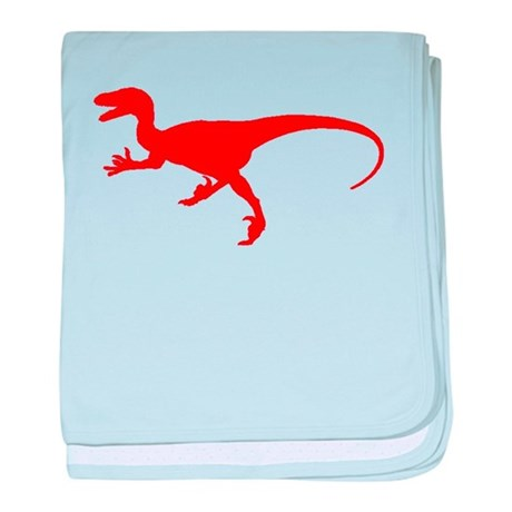 460x460 Velociraptor Silhouette (Red) Baby Blanket By Colorfuldinosaurs
