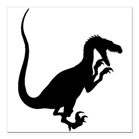 460x460 Velociraptor Silhouette Square Car Magnet 3 X 3 By