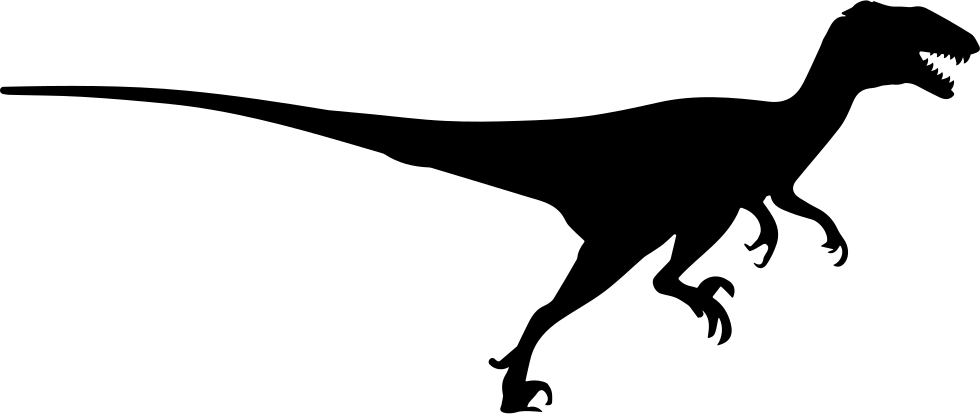 980x414 Deinonychus Dinosaur Silhouette Side View Svg Png Icon Free